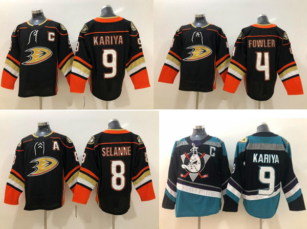 Anaheim Ducks #4 Cam Fowler 8 Teemu Selanne 9 Paul Kariya Mens Cheap Ice Hockey Uniforms Shirts Sports Team Jerseys Pro Stitched Embroidery