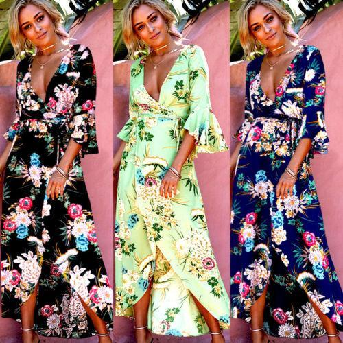 Ladies Womens Sundress Long Sleeve Women Summer Boho Maxi Dress Evening Party Beach Dresses Sundress Print Flower