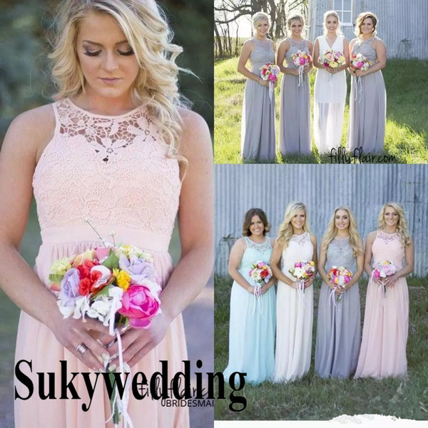 top popular Cheap Country Bridesmaid Dresses for Wedding Grey Long Chiffon A-Line Backless Formal Party Lace Dresses Modest Maid Of Honor Dress Hot Sale 2021