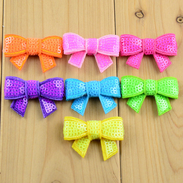 Hair Accessories 100pcs Lot New 37 Color U Pick 4cm Mini Glitter Sequin Hair Bows Diy Hair Ribbon For Sewing Craft