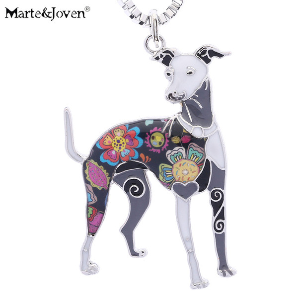 MarteJoven Multicolor Whippet Jewelry Gifts for Women Dog Lover Collana con ciondolo per cani