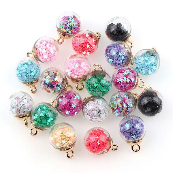 Comercio al por mayor de 15 mm colores transparentes Glass Star Star Charms Finding colgante para accesorios de la joyería del pelo pendientes del encanto