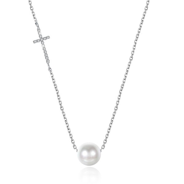 Hot sale 925 sterling silver cross pearl pendant necklaces Simple Clavicular chain fine jewelry making for lover gifts free delivery PTEN004