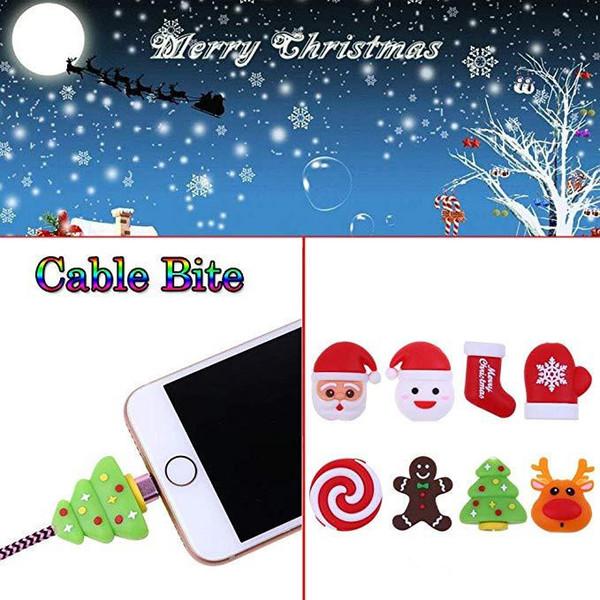 Noel Kablo koruyucusu Veri hattı Koruyucu Sarıcı Kulaklık Kordon Koruma Kol Elk Santa Organizatör iphone x xs 7 8 artı Samsung