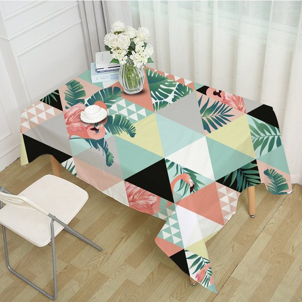 Cubierta de tabla de la boda manteles pastorales rectángulo cena estera de tabla hojas de palma grande flamencos paño de tabla para la decoración casera