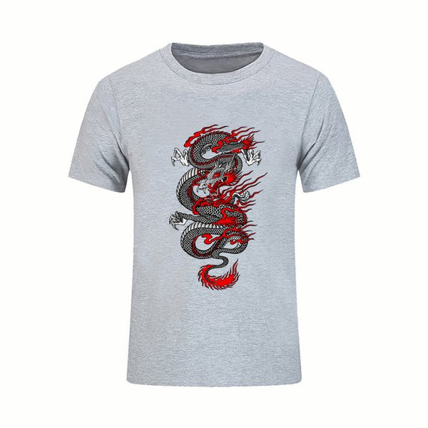 Great Tees Free Shipping Mens T Shirts Chinese Dragon Short Sleeve Tees Shirts Pre - Cotton Cool Design 3d Tshirt Male Twin Peaks