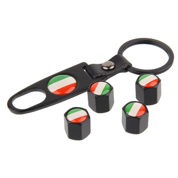 20sets/Lot 4pcs+1 Key chain Car Tire Valve Caps Italy Flag Emblem Logo Auto Tyre Stems Air Caps Automobile Wheel Decorating