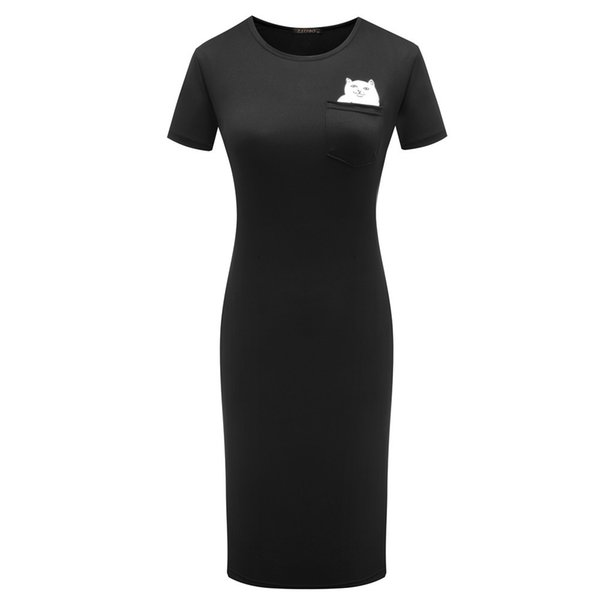RIPDNIP Imprimer Robes Femmes Casual Bodycon Dress Robes Longues Crayon Solide Mi-Mollet Dressing
