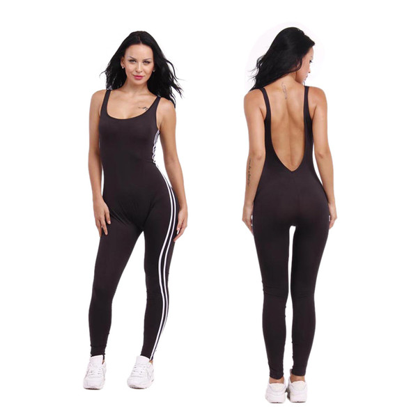 New Summer Sport Yoga Set Sexy U-neck Backless Women Closed-Fitting Jumpsuit Gym Running Sport Wear Suit Workout Clothes