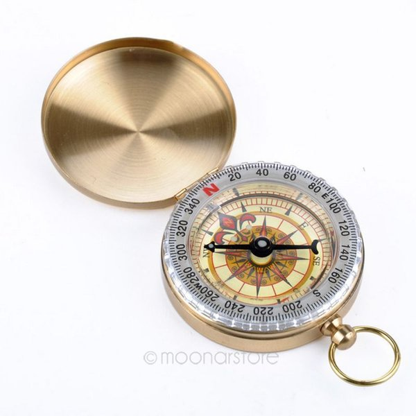 New Outdoor Hiking Camping Accessories Classic Brass Pocket Watch Style Camping Compass Hiking
