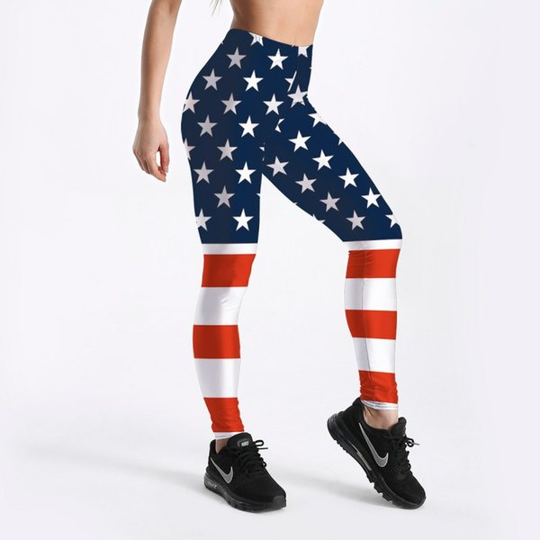 New Arrival USA Flag Sexy Women Leggings Trousers Yoga Fitness Elastic Tights Girls Breathable Blue Stars Lady Gym Pants S-4XL
