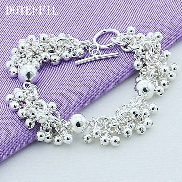 Venta al por mayor 925 joyas de plata esterlina del encanto de las pulseras de las uvas más granos de la pulsera de la pulsera pulsera de plata plateada mujeres B015
