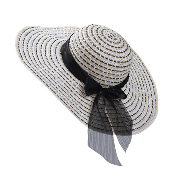 Hot Sale Fashion 2017 New fashion Summer beach hat large brimmed hat summer  bow for women 62013d964ccd
