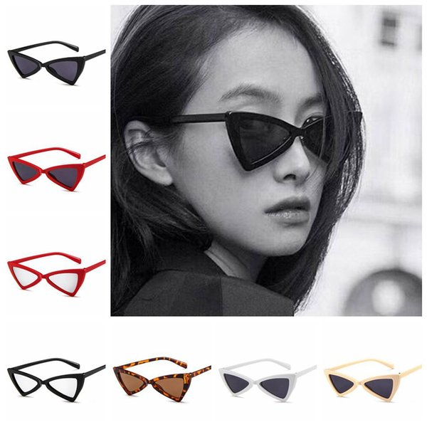Lunettes de soleil Cat Eye Vintage Triangle Camo papillon lunettes de soleil Femme Cadre rétro Lunettes de Bowknot Lunettes 6 couleurs LJJO4740