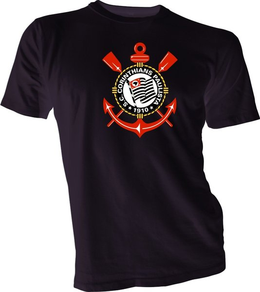 S.C. CORINTHIANS PAULISTA Brasil Brazil Futebol Soccer Black T-SHIRT Camisa NEW