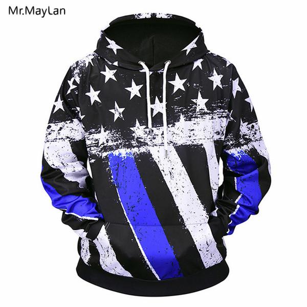 Vintage Weiß Schwarz Blau Streifen Flagge 3D Print Jacke Männer / Frauen Hipster Pullover Sweatshirts Jungen Retro Hoodies Kleidung Harajuku
