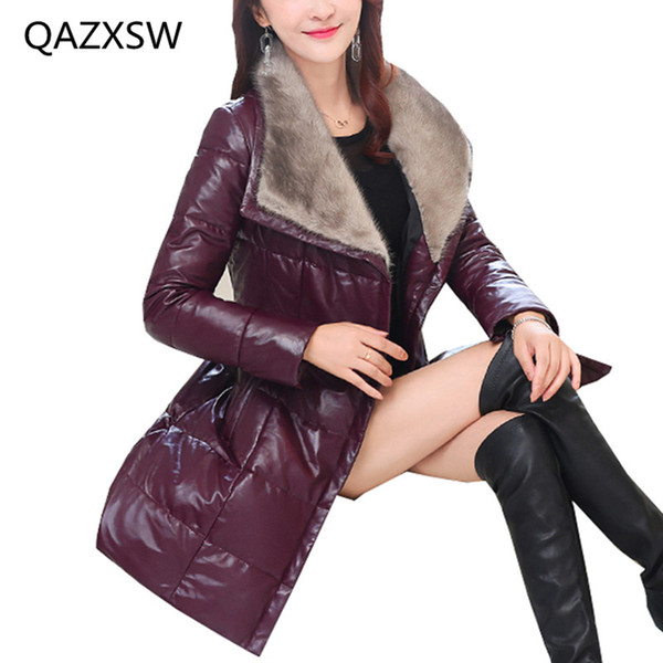 2018 New Women's Winter Leather Down Jacket In The Long Sheep Skin Slim Thick Warm Coat LE188