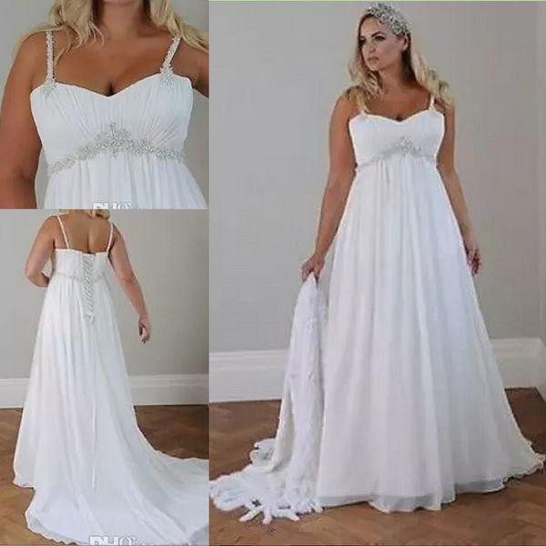 Cristales Tallas grandes Vestidos de boda de playa 2018 Corsé Volver Correas espaguetis Longitud del piso de gasa Vestidos de novia elegantes Sin mangas