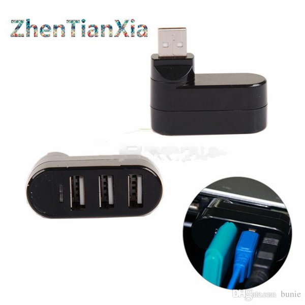 Wholesale- Mini 3 PORT USB 2.0 Rotate HUB Adapter For PC Desktop Laptop Notebook Expansion Free shipping