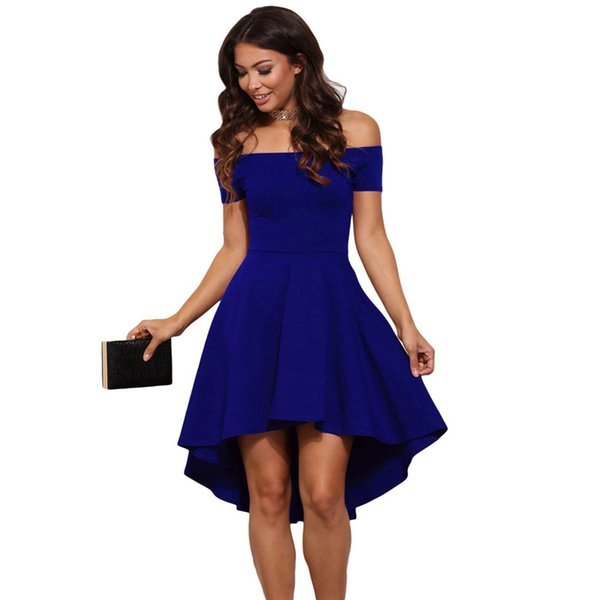 Nouveau haut femmes off épaule midi robe manches courtes pleine longueur tailles plus