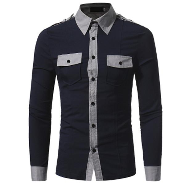 Nouveau Hommes Chemise de Marque De Mode D'affaires Casual Pocket Eet Décoration Hommes de Haute Qualité À Manches Longues Chemise Camisa Masculina