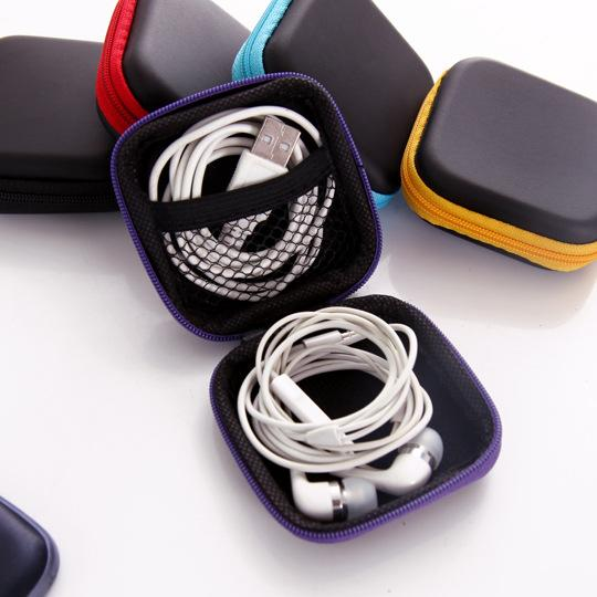 top popular 5 color Cell phone data cable charger Fingertip gyro box Headphone storage bag eva headphone bag free shipping 2020
