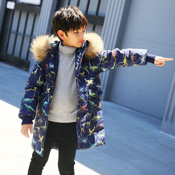 Children's winter down jacket for boys kids thick warm parkas clothes baby boys long down coat fur collar cartoon dinosaur print