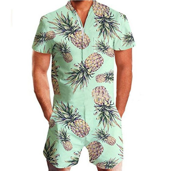 LEQEMAO Short Sleeve Romper Men's Summer Holiday Casual Zipper Jumpsuit Beach Overalls Funny Pineapple Printing