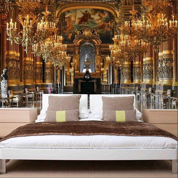2017 Luxus Klassische Goldene Halle Tapeten Wohnkultur Wandverkleidung  Hintergrund 3d Wandmalereien Goldene Sofa Wohnzimmer Hotel Decor