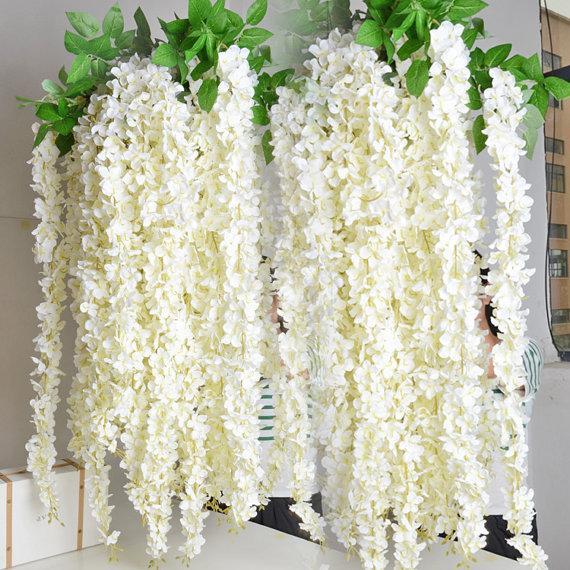 Белый Глициния гирлянда висячие цветы 5 шт. Для открытый свадебная церемония декор шелковые глицинии лозы свадебные арки цветочный декор