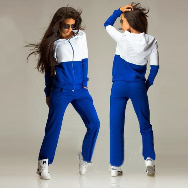 2018 New Fashion Women's Tracksuit Sport Suit Blue & White Long-sleeve Casual Sport Costumes 2 Piece Top and Pants Set