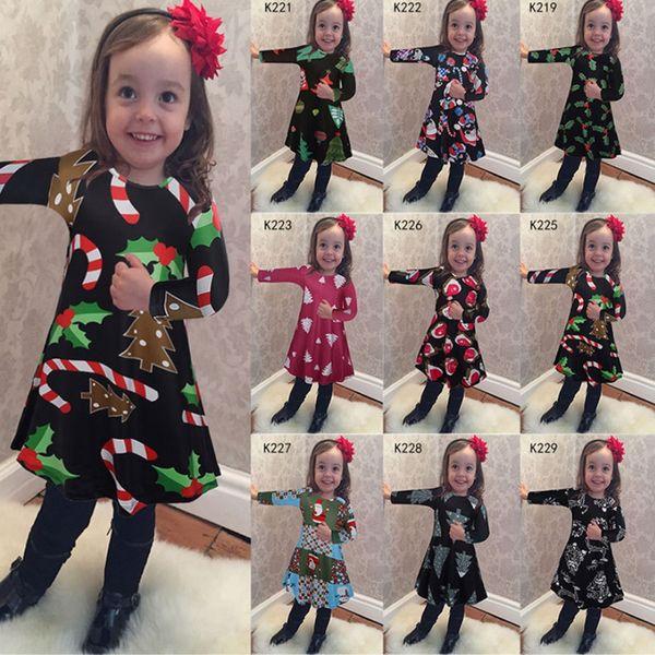 Christmas Baby Girls Dress Long Sleeve Girl Dresses Casual Princess Dresses Christmas Costumes Kids Clothing 9 Designs DHT489