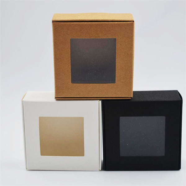 30pcs/lot Square White/black/Kraft Window Box Packaging Small Gift Boxes with PVC window for Candy/Soap/Jewelry Display Box 3.22