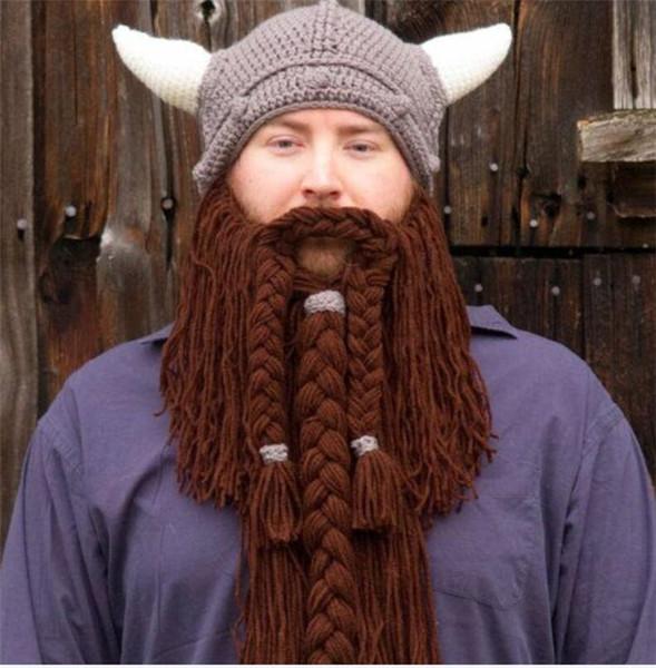 Ручной работы зимняя шерсть усы Кос шапки пират маска для лица парик борода шапочки супер большой Викинг Рог подарок партии смешные вязаные шапки