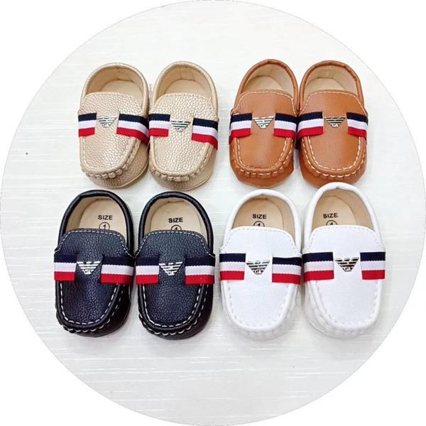 İlkbahar ve Sonbahar Bebek Ayakkabı Yenidoğan Erkek PU Deri İlk Walker Ayakkabı Yumuşak Sole Bebek Prewalkers Ücretsiz Kargo