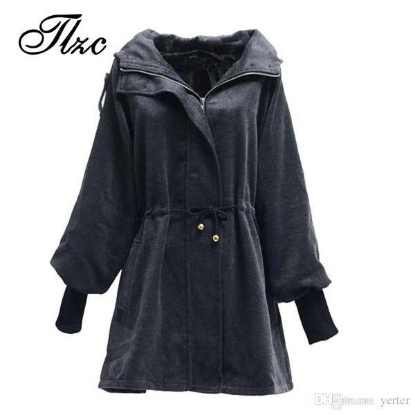 Wholesale-British Fashion Women Winter Wool & Blends Jackets Large Size L-3XL Slim Fitting Hooded Design Lady Black Warm Coats