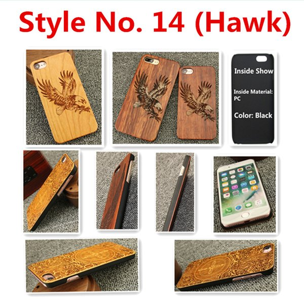 Style No. 14 (Hawk) Real Genuine Natural Wood Wooden Bamboo Rear Back Cover Cases for iPhone X 8 7 6S 6 Plus 5 5S SE Inside