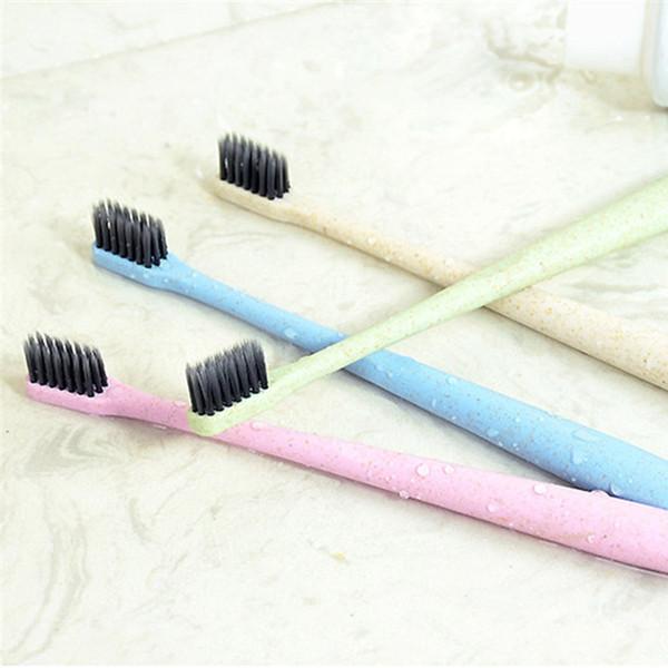 Trigo Paja Carbón Suave Cepillo de dientes Venta al por menor Caja Lleno Adulto Hogar Degradación ambiental del cepillo Mango Cepillos de dientes 3006072