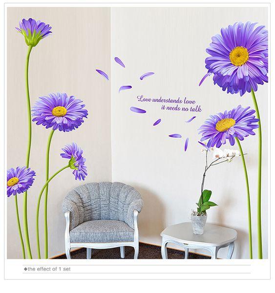 Free shipping Netherlands Chrysanthemum Flower Wall Sticker PVC Material Aster novi-belgii Mural Art for Living Room Decoration
