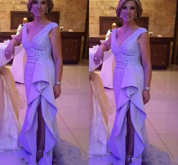 Sexy V Neck Mother Of Bride Dresses Sleeves Sweep Train Splits Ruffles Beaded Satin Evening Dresses Formal Women Wear