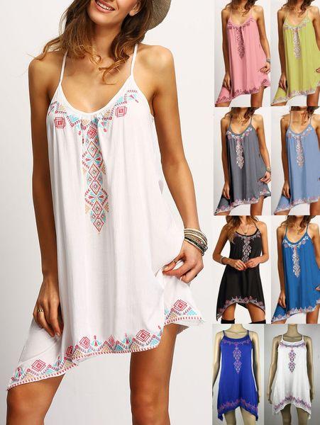 Robe Femme Summer Dress For Women Boho Sexy Women Vestidos Beach Dress Spaghetti Strap Sleeveless Women Dresses Short
