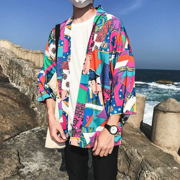 Full Printed Japanese Style Kimono Jacket Men 2018 Summer Three Quarter Sleeve Men's Kimono Jackets