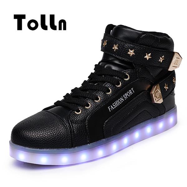 LED beleuchtete Schuhe für Erwachsene Männer Freizeitschuhe LED leuchtende High-Top 3 Farben Krasovki Femme Schuhe LED Neon Korb Mens