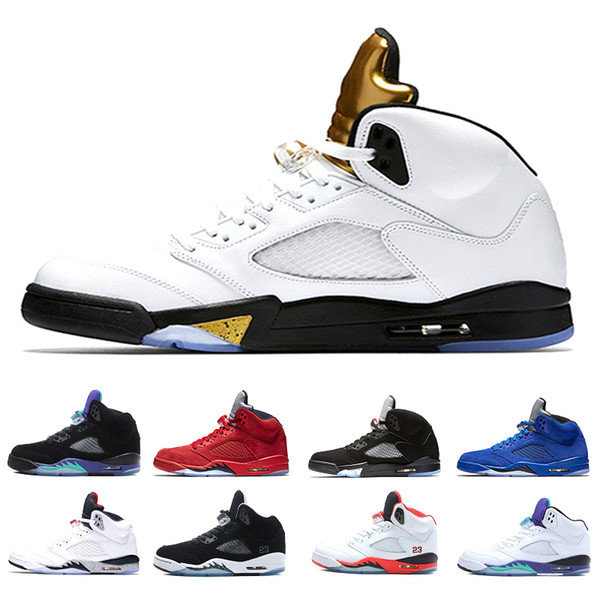New 5 5s Olympic Basketball Shoes Men Olympic Gold Tongue Metallic White Gold 5s Coin Medal Sneakers size 8-13 With Box
