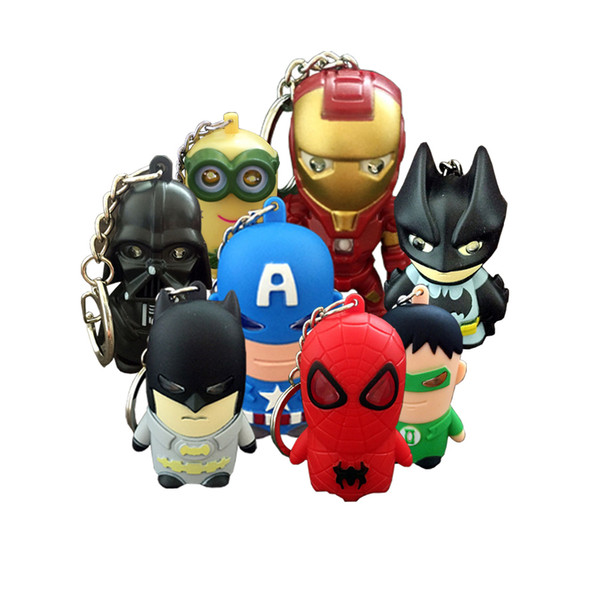 Iron man Art deco Marvel portachiavi con torcia Portachiavi Portachiavi Sport Mini torce a led all'ingrosso portachiavi portachiavi