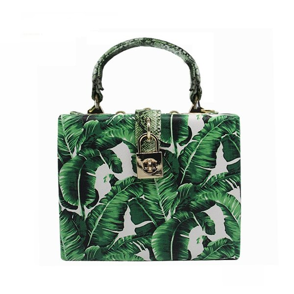 Caker Brand 2018 Women Green Colorful Handbag Fashion Leopard Printing Day Clutches Chain bags