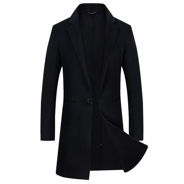 Single Button high quality Jackets & Coats Single buckle Casual Mens luxurious Wool Jackets Full Winter For Male Wool Overcoat