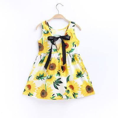 Summer Girls Full Flowers Impresión Big Bow Cinta de seda atada a la cuerda Estilo coreano Cotton High-end Boutique Vestido sin mangas del chaleco 24 Diseños