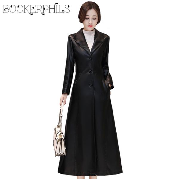 d1f2008e6c Autumn Winter Faux Sheepskin Coat Women s Leather Jacket X-Long Plus Size  Female Outerwear Fashion