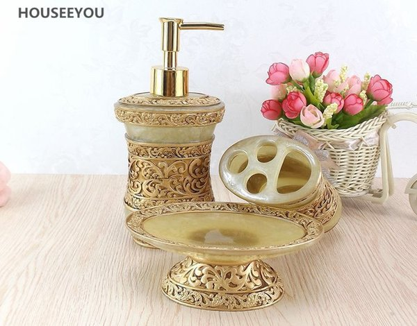 Eco-Friendly 5pcs /Set European Resin Bathroom Accessories Sets Bathroom Products Wash Gargle Tooth Toothbrush Holder Dispenser Soap Dish